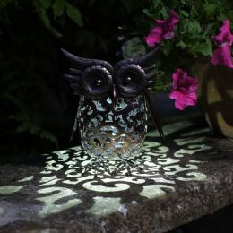 Smart Garden Metal Scroll Decorative Solar Powered Owl Solar Lights for Garden